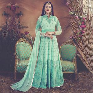 Adorable Sea Green Colored Embroidered Partywear Faux Georgette Anarkali Suit