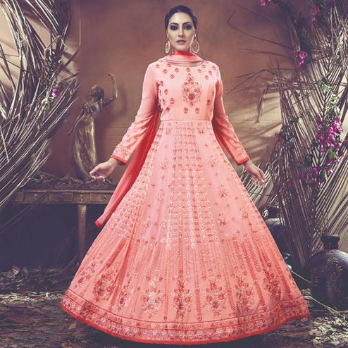 Attractive Peach Colored Embroidered Partywear Faux Georgette Anarkali Suit