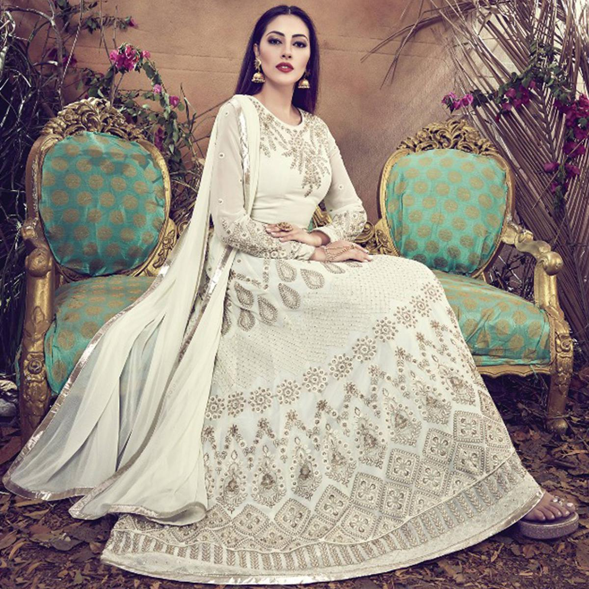 Capricious Off White Colored Embroidered Partywear Faux Georgette Anarkali Suit