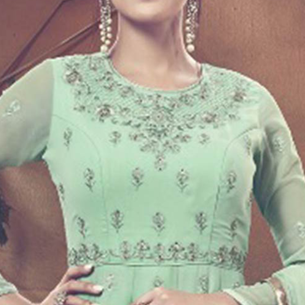 Engrossing Sea Green Colored Embroidered Partywear Faux Georgette Anarkali Suit