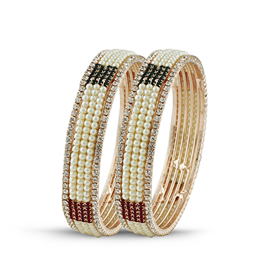 Maroon - Green Stone & Pearl Traditional Bangle