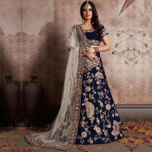 Innovative Blue Colored Party Wear Designer Embroidered Velvet Silk Lehenga choli