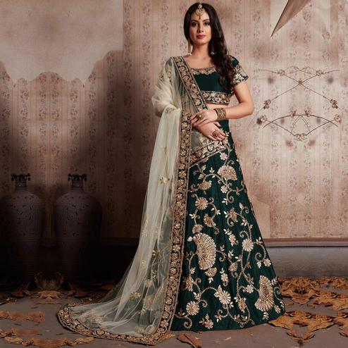 Gleaming Green Colored Party Wear Designer Embroidered Velvet Silk Lehenga choli