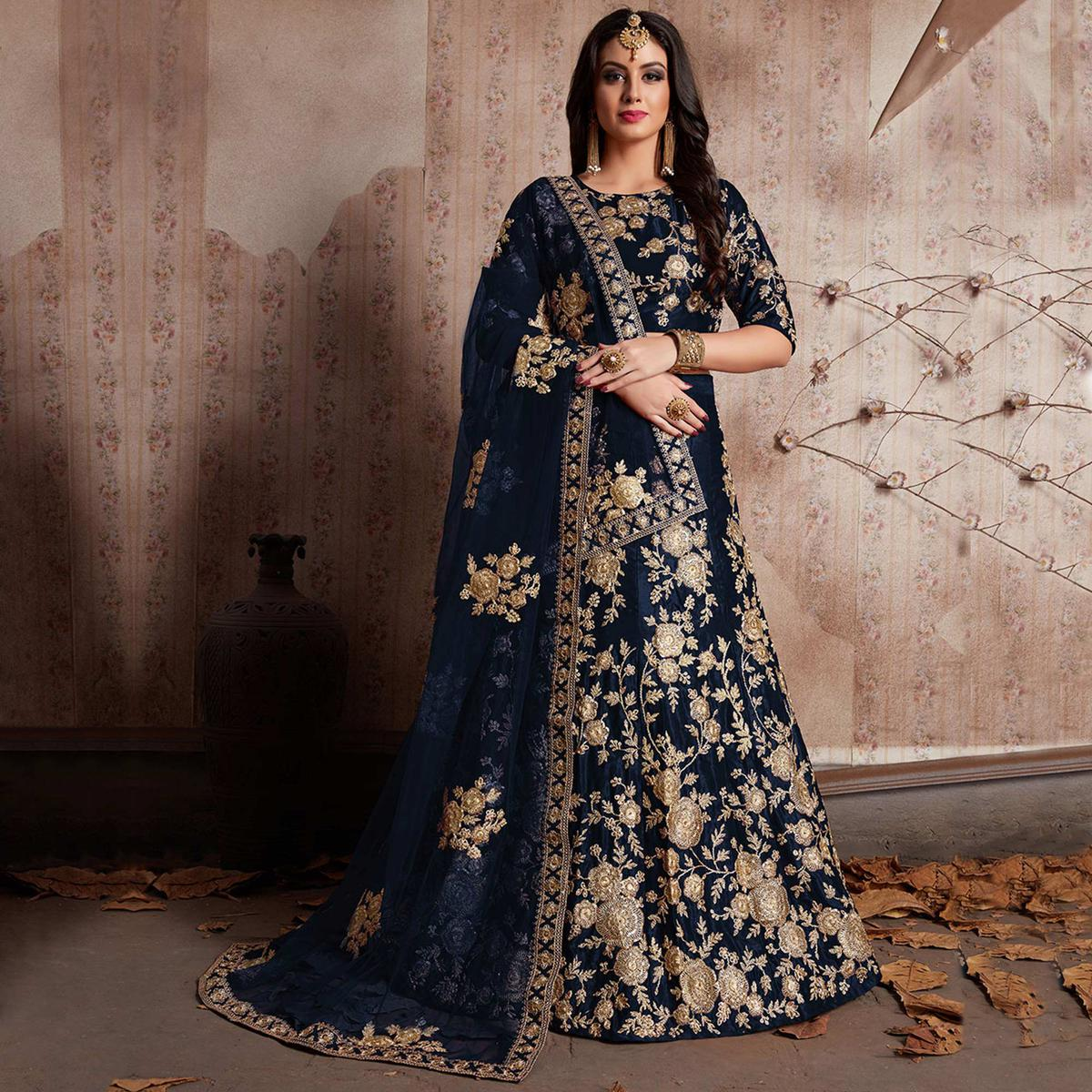 Arresting Blue Colored Party Wear Designer Embroidered Velvet Silk Lehenga choli
