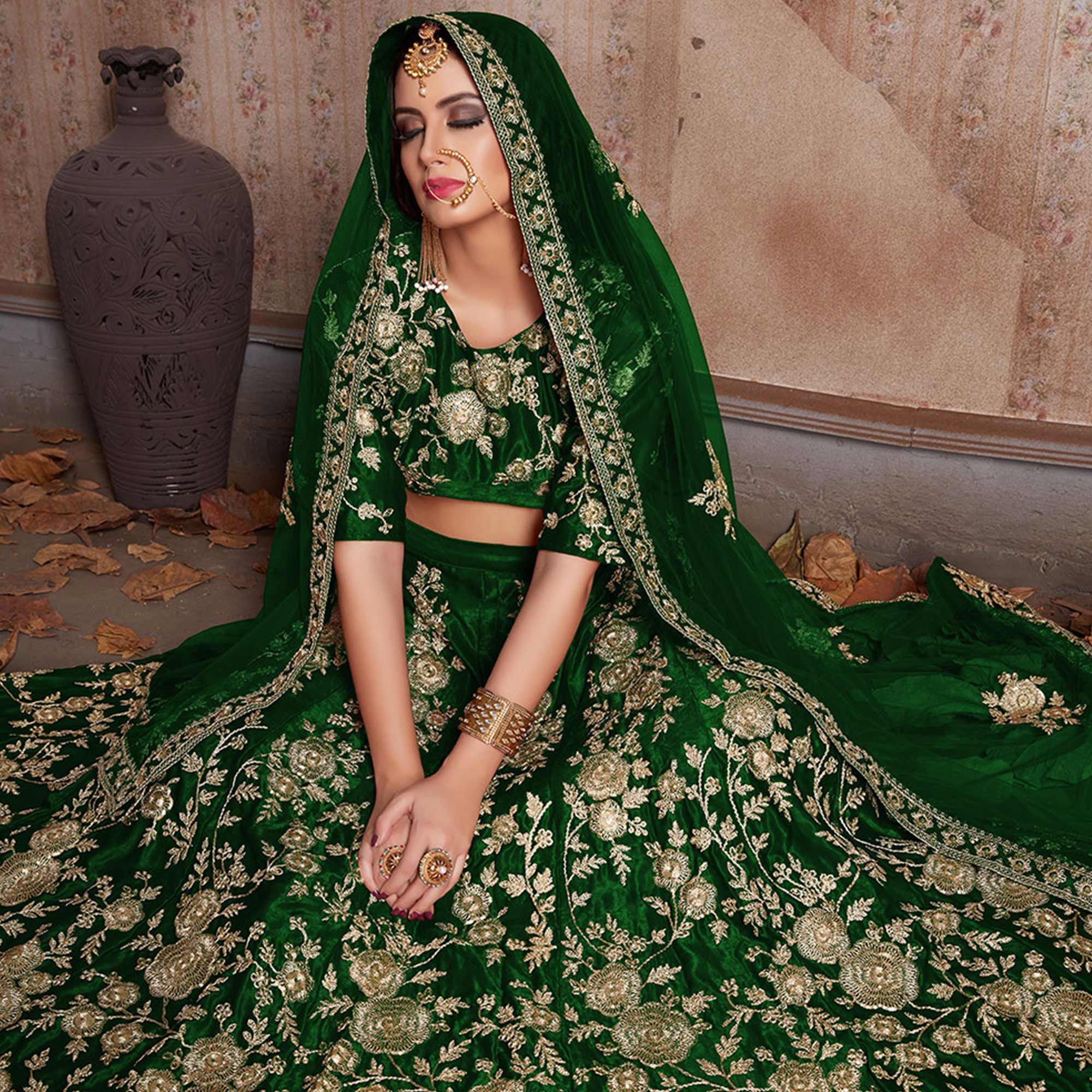 Exceptional Green Colored Party Wear Designer Embroidered Velvet Silk Lehenga choli