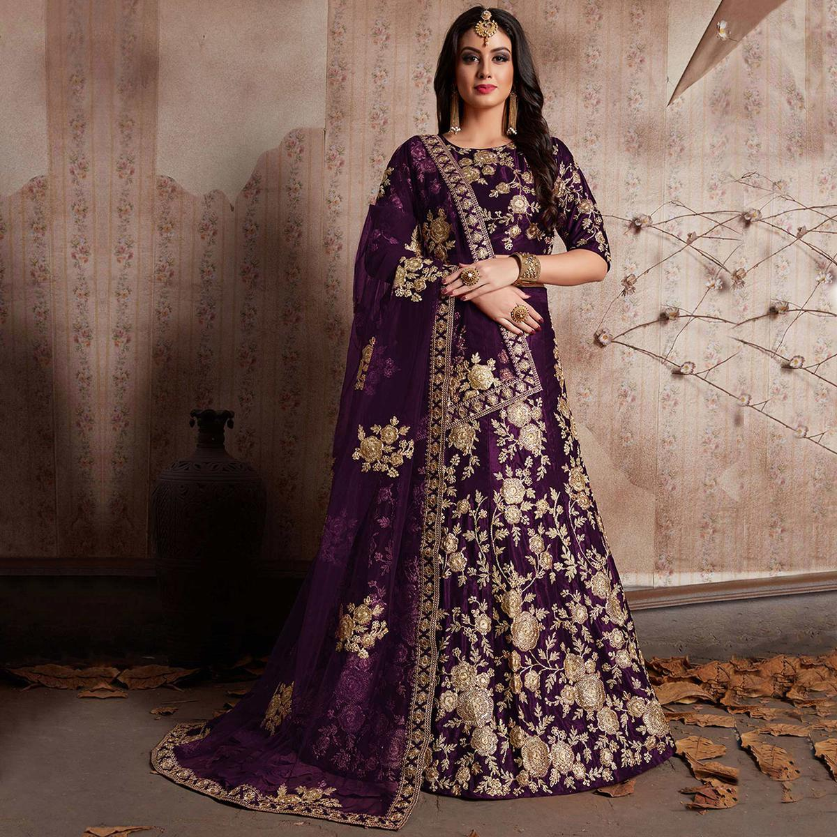 Excellent Purple Colored Party Wear Designer Embroidered Velvet Silk Lehenga choli