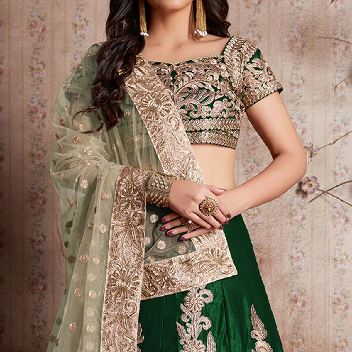 Ethnic Green Colored Party Wear Designer Embroidered Velvet Silk Lehenga choli