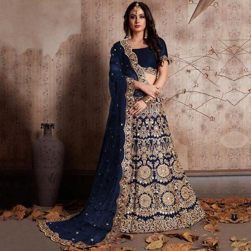 Starring Blue Colored Party Wear Designer Embroidered Velvet Silk Lehenga choli