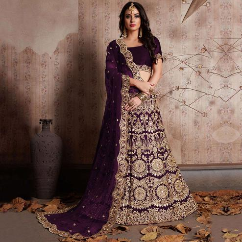 Surpassing Purple Colored Party Wear Designer Embroidered Velvet Silk Lehenga choli
