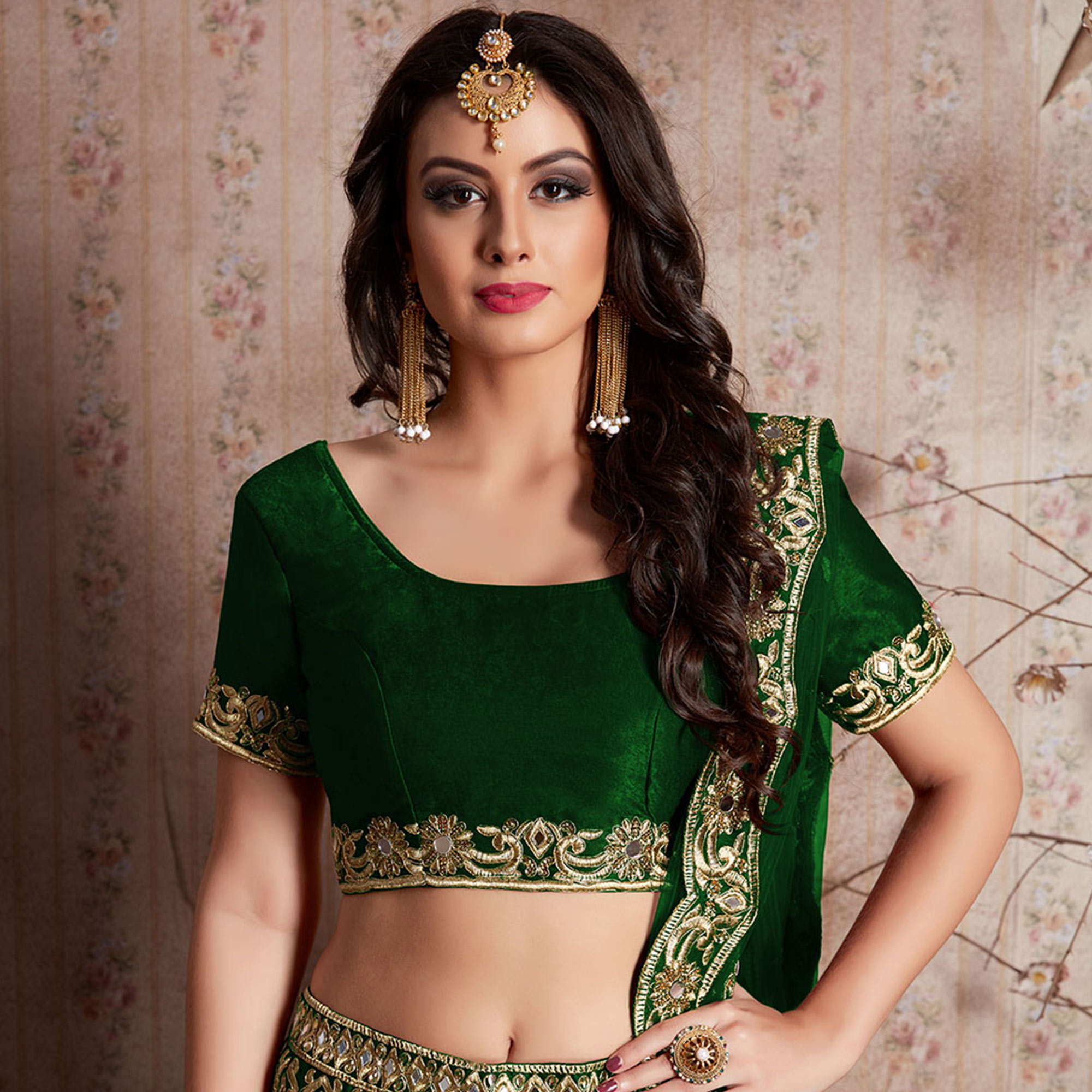 Entrancing Dark Green Colored Party Wear Designer Embroidered Velvet Silk Lehenga choli