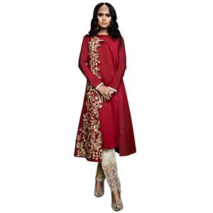 Excellent Maroon Colored Designer Embroidered Pure Muslin Suit