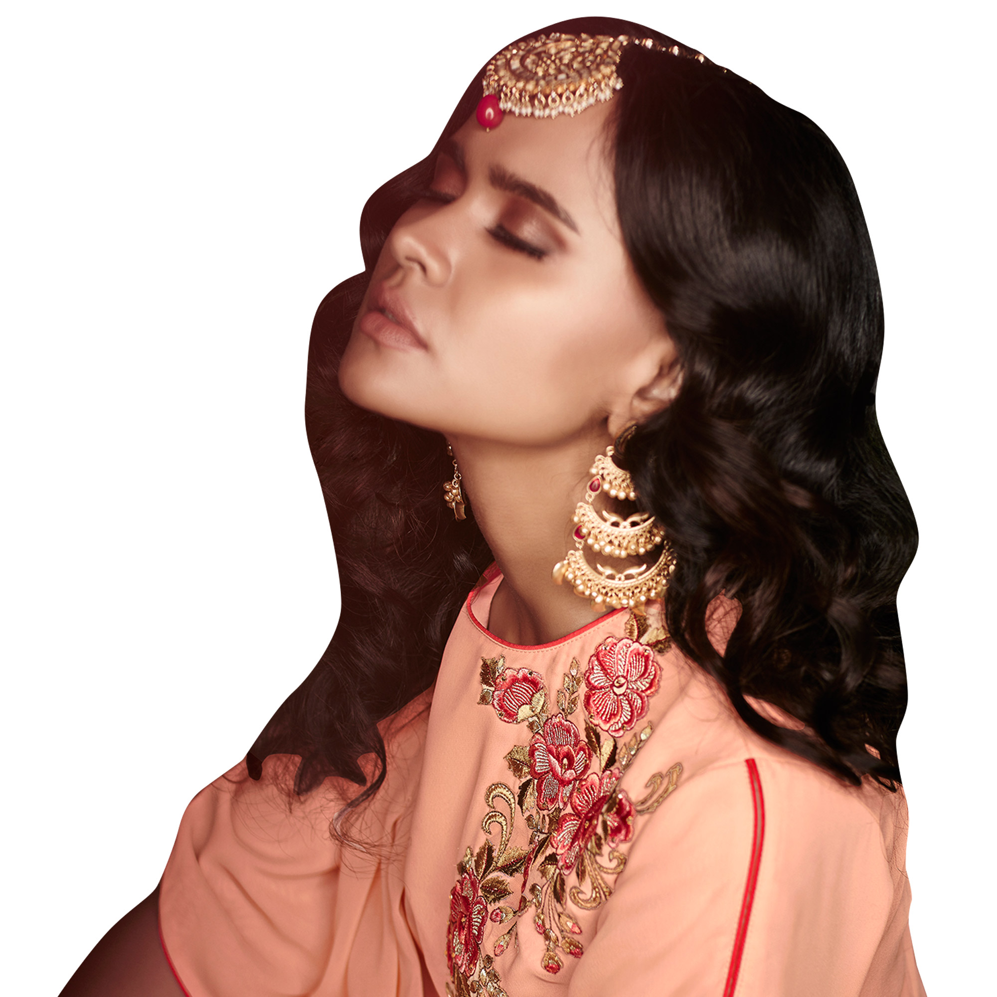 Opulent Peach Colored Designer Embroidered Georgette Palazzo Suit