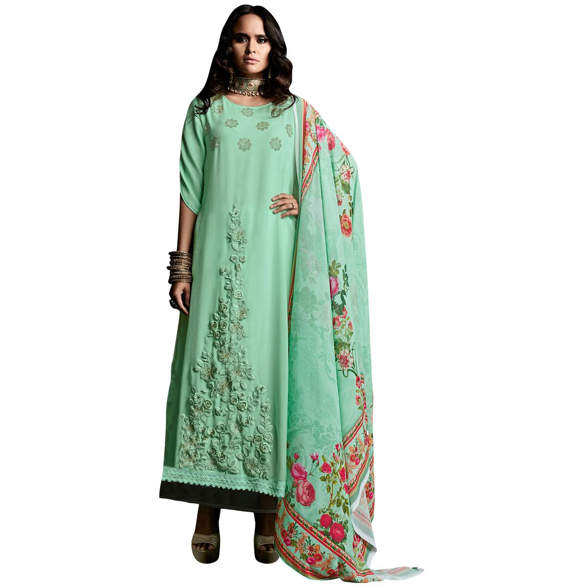 Glowing Sea Green Colored Designer Embroidered Georgette Suit