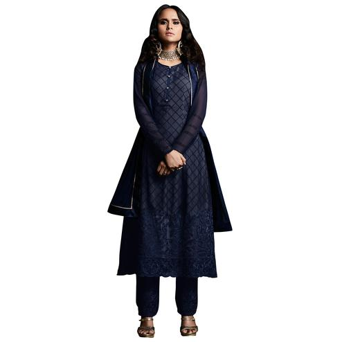 Capricious Navy Blue Colored Designer Embroidered Georgette Suit