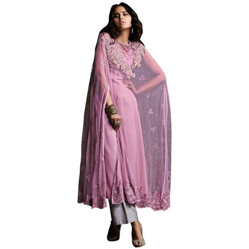 Innovative Light Purple Colored Designer Embroidered Net Suit