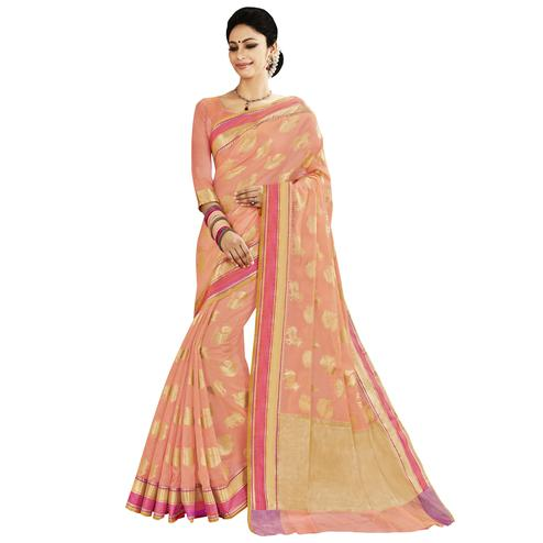 Classy Peach Colored Festive Wear Woven Silk Saree