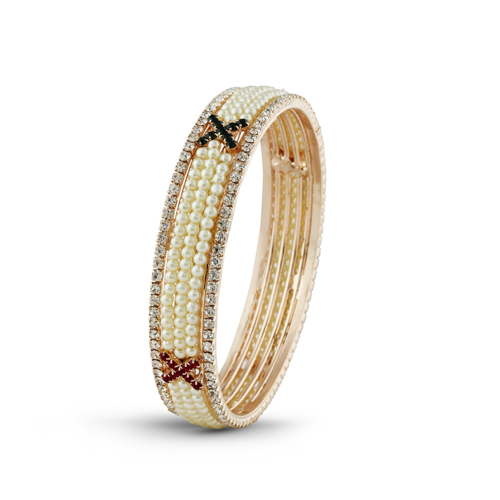 Maroon - Green Stone & Pearl Desginer Bangle