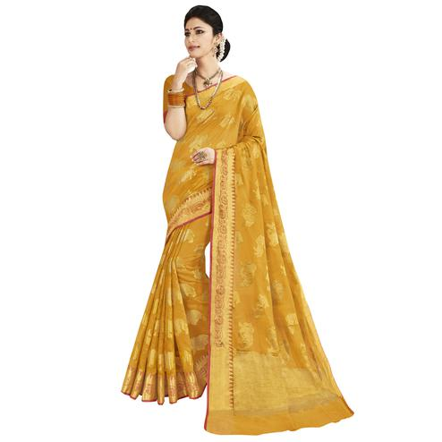 Deserving Mustard Yellow Colored Festive Wear Woven Silk Saree