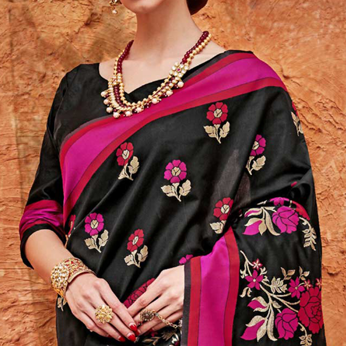 Intricate Black Colored Festive Wear Floral Work  Silk Saree