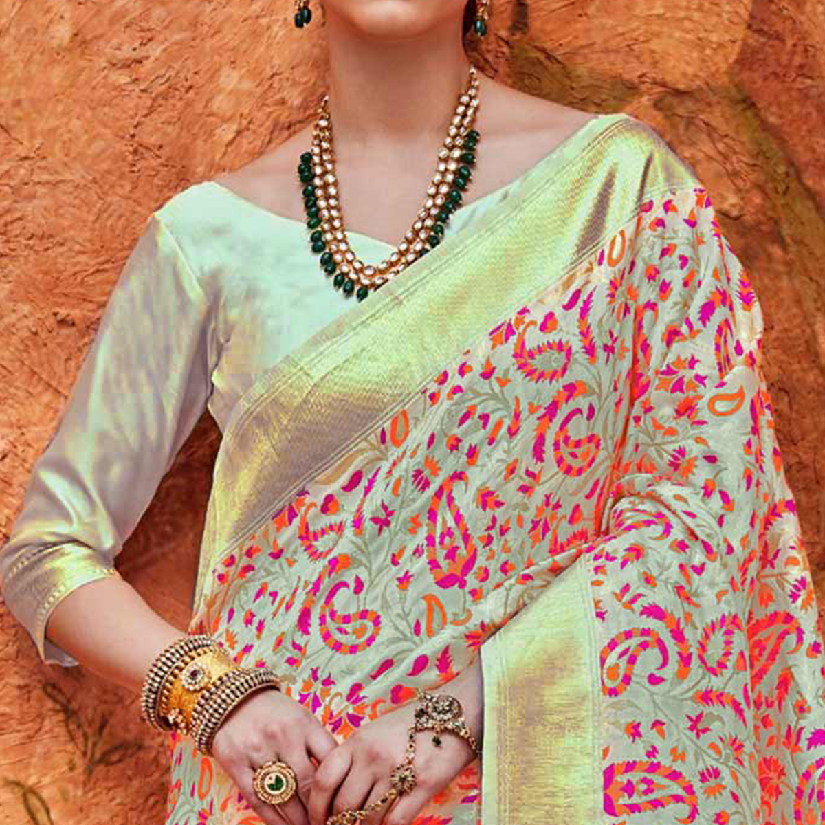 Desirable Cream Colored Festive Wear Woven Work  Silk Saree