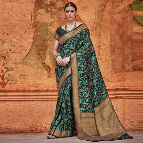 Demanding Black - Green Colored Festive Wear Woven Work  Silk Saree