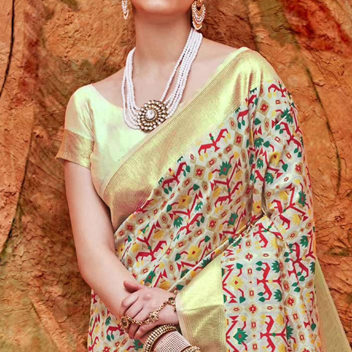 Pleasant Cream Colored Festive Wear Woven Work  Silk Saree