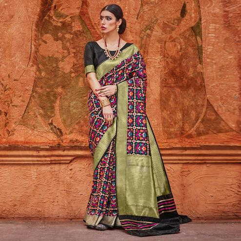 Unique Multicolor Colored Festive Wear Woven Work  Silk Saree
