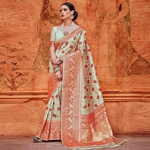 Refreshing Cream Colored Festive Wear Woven Work  Silk Saree