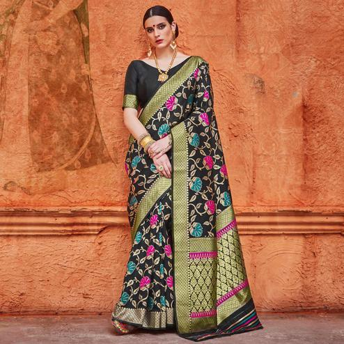 Elegant Black Colored Festive Wear Woven Work  Silk Saree