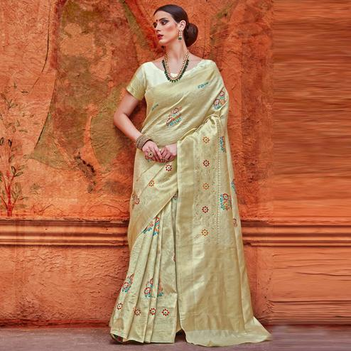 Alluring Beige Colored Festive Wear Woven Work  Silk Saree