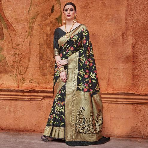 Radiant Black Colored Festive Wear Woven Work  Silk Saree