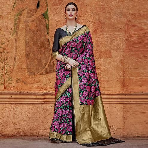 Innovative Black - Pink Colored Festive Wear Woven Work  Silk Saree