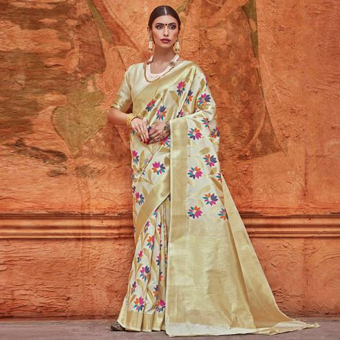 Gleaming Cream Colored Festive Wear Woven Work  Silk Saree