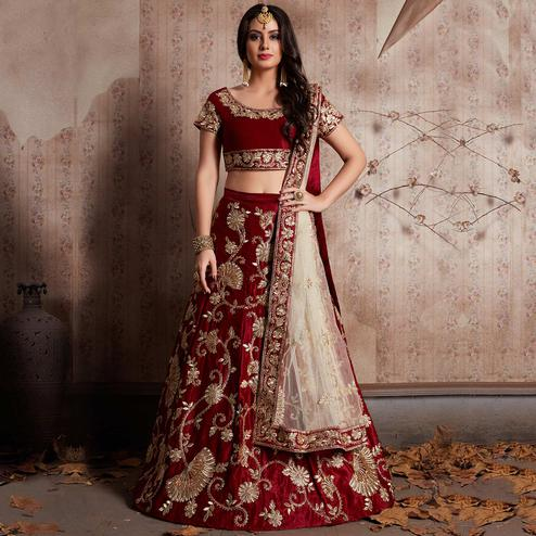 Majesty Maroon Colored Party Wear Designer Embroidered Velvet Silk Lehenga Choli