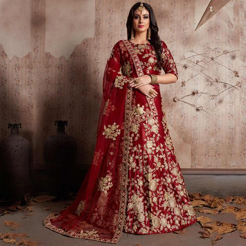 Preferable Maroon Colored Party Wear Designer Embroidered Velvet Silk Lehenga Choli