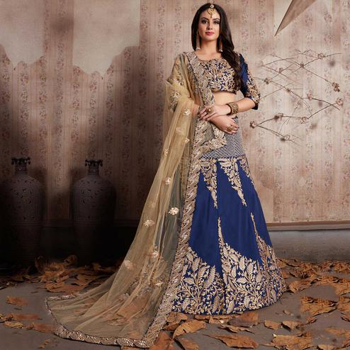 Adorning Navy Blue Colored Party Wear Designer Embroidered Tapeta Silk Lehenga Choli