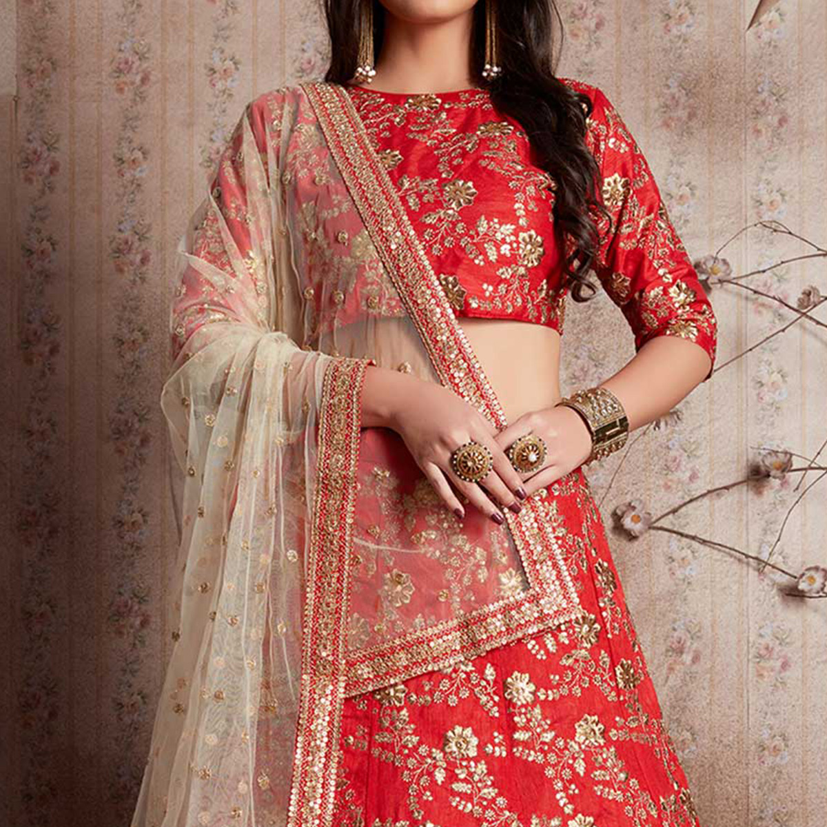 Prominent Red Colored Party Wear Designer Embroidered Raw Silk Lehenga Choli