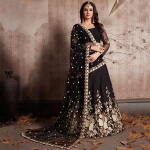 Deserving Black Colored Party Wear Designer Embroidered Crepe Lehenga Choli