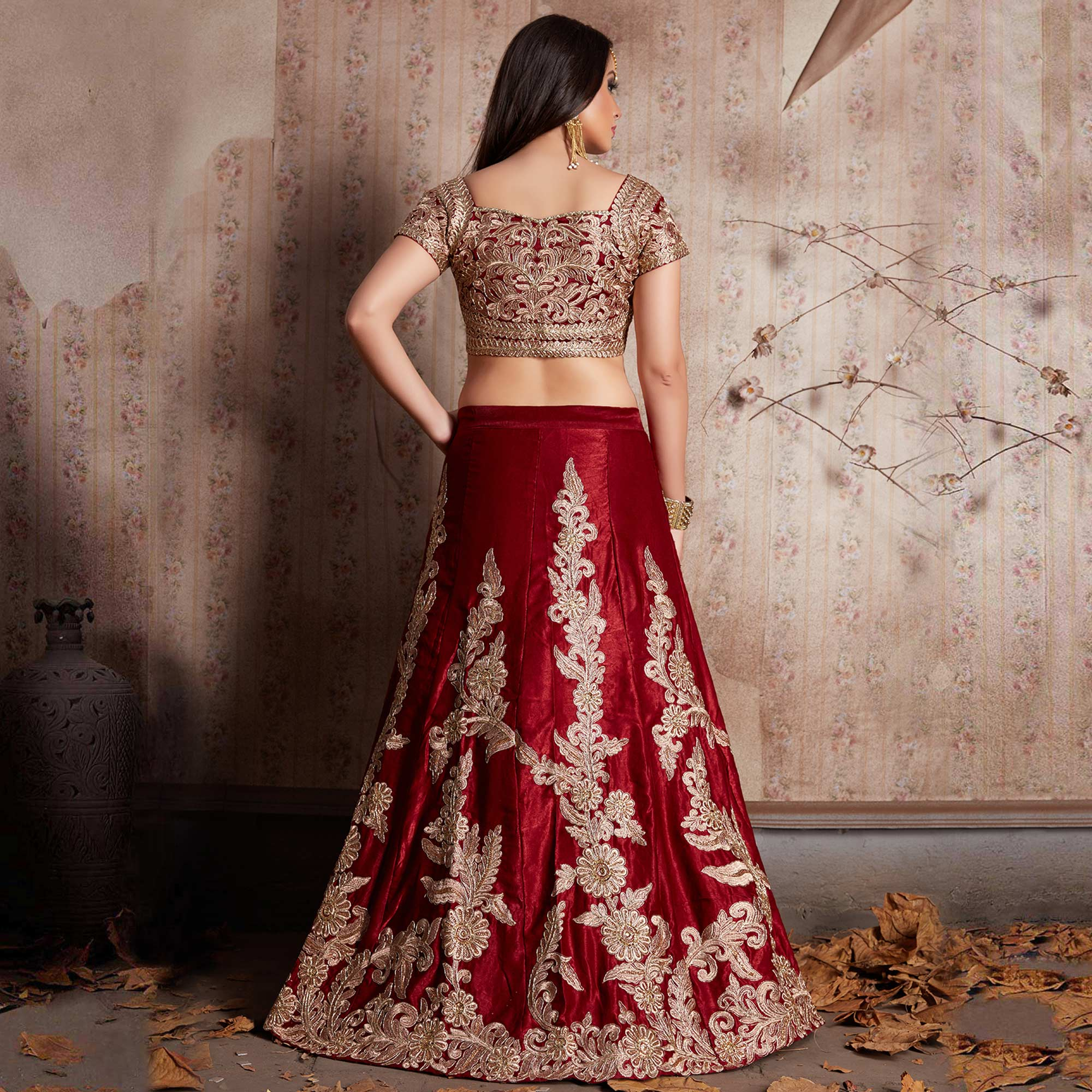 Energetic Maroon Colored Party Wear Designer Embroidered Velvet Silk Lehenga Choli