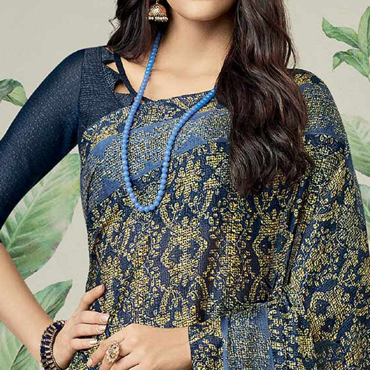 Stunning Navy Blue Colored Casual Printed Jute Art Silk Saree