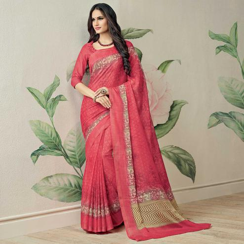 Impressive Pink Colored Casual Printed Jute Art Silk Saree