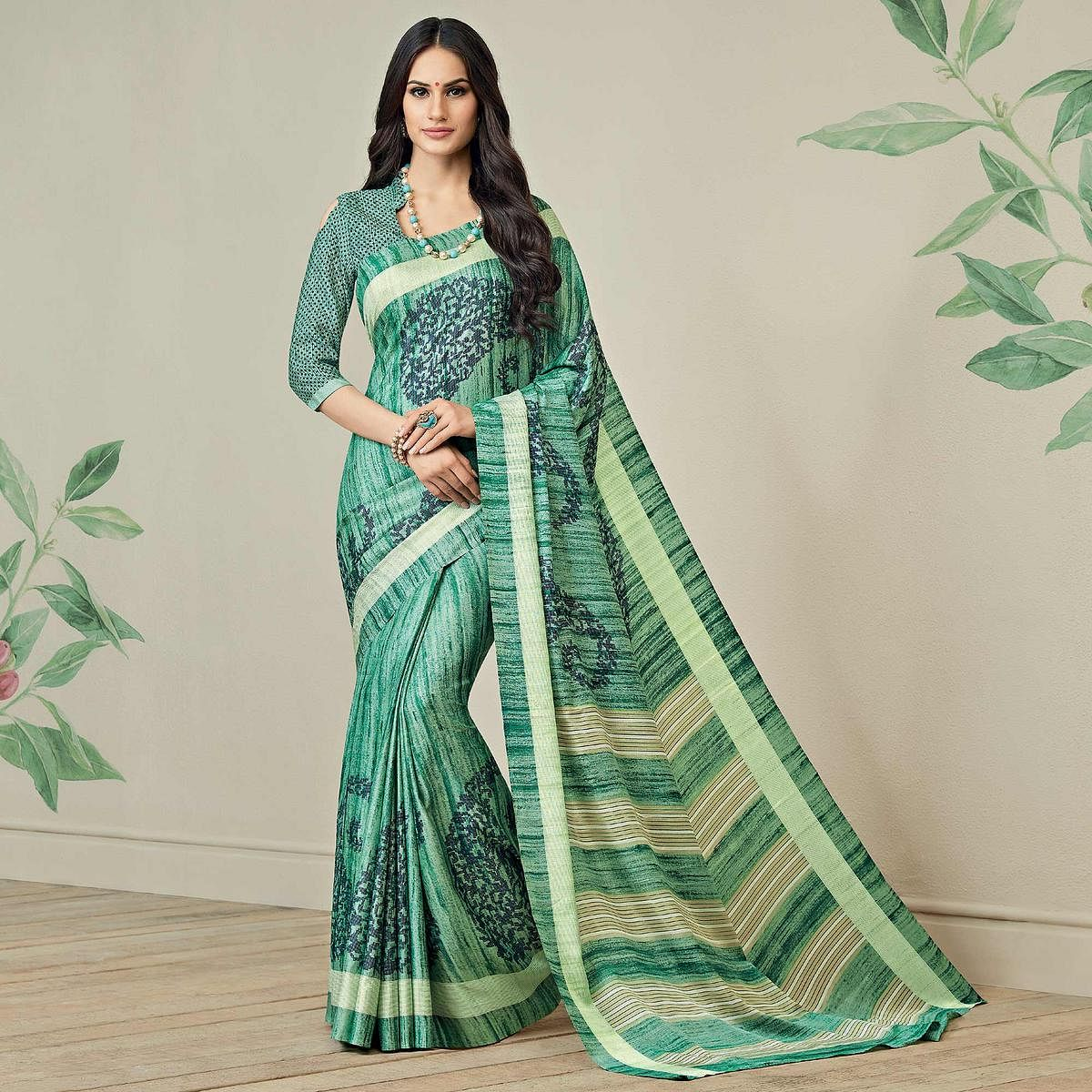 Classy Green Colored Casual Printed Jute Art Silk Saree