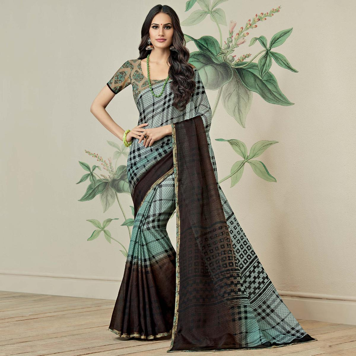 Beautiful Baby Blue-Brown Colored Casual Printed Jute Art Silk Saree