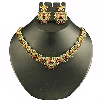 Red & Green Austrian Stone Gold Finish Necklace Set