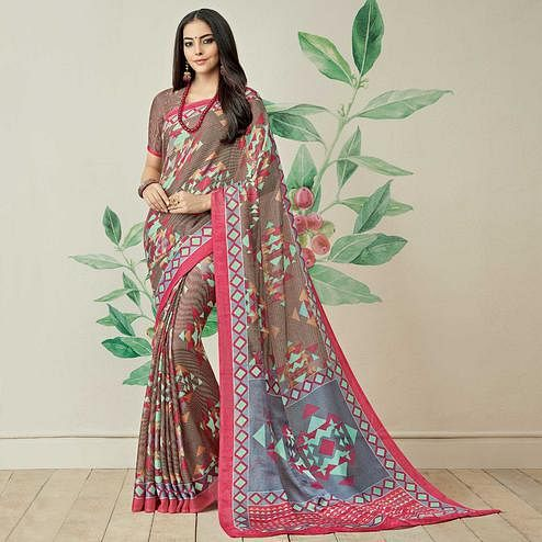 Desirable Brown-Multi Colored Casual Printed Jute Art Silk Saree