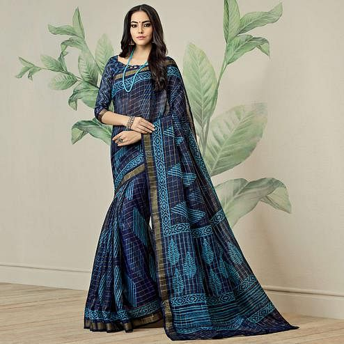Radiant Navy Blue Colored Casual Printed Jute Art Silk Saree