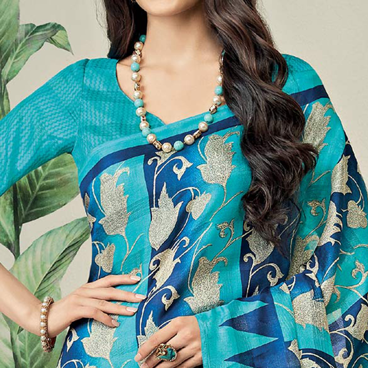 Ethnic Blue Colored Casual Printed Jute Art Silk Saree