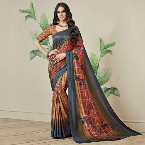 Snazzy Rust Orange-Grey Colored Casual Printed Jute Art Silk Saree