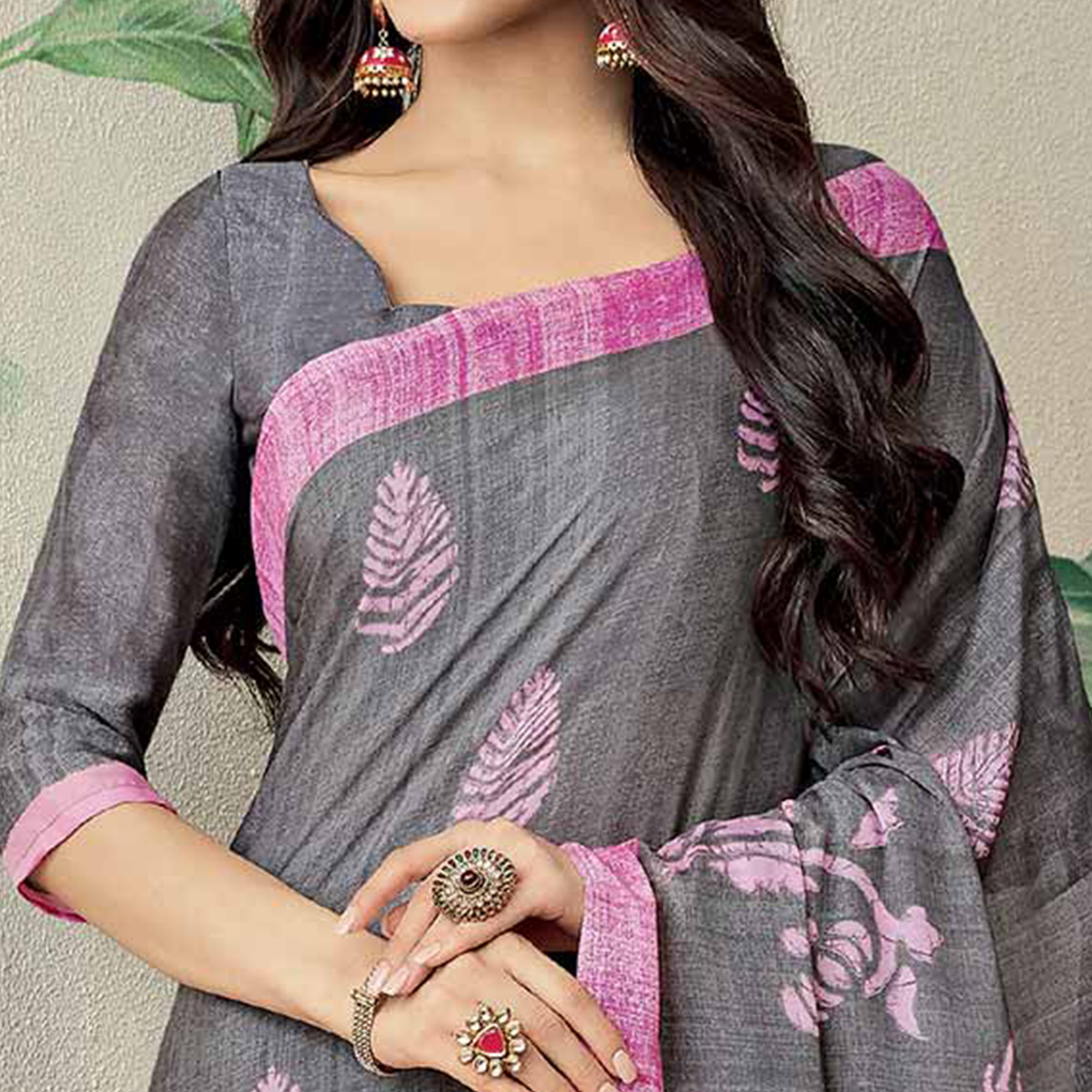 Awesome Grey-Pink Colored Casual Printed Jute Art Silk Saree