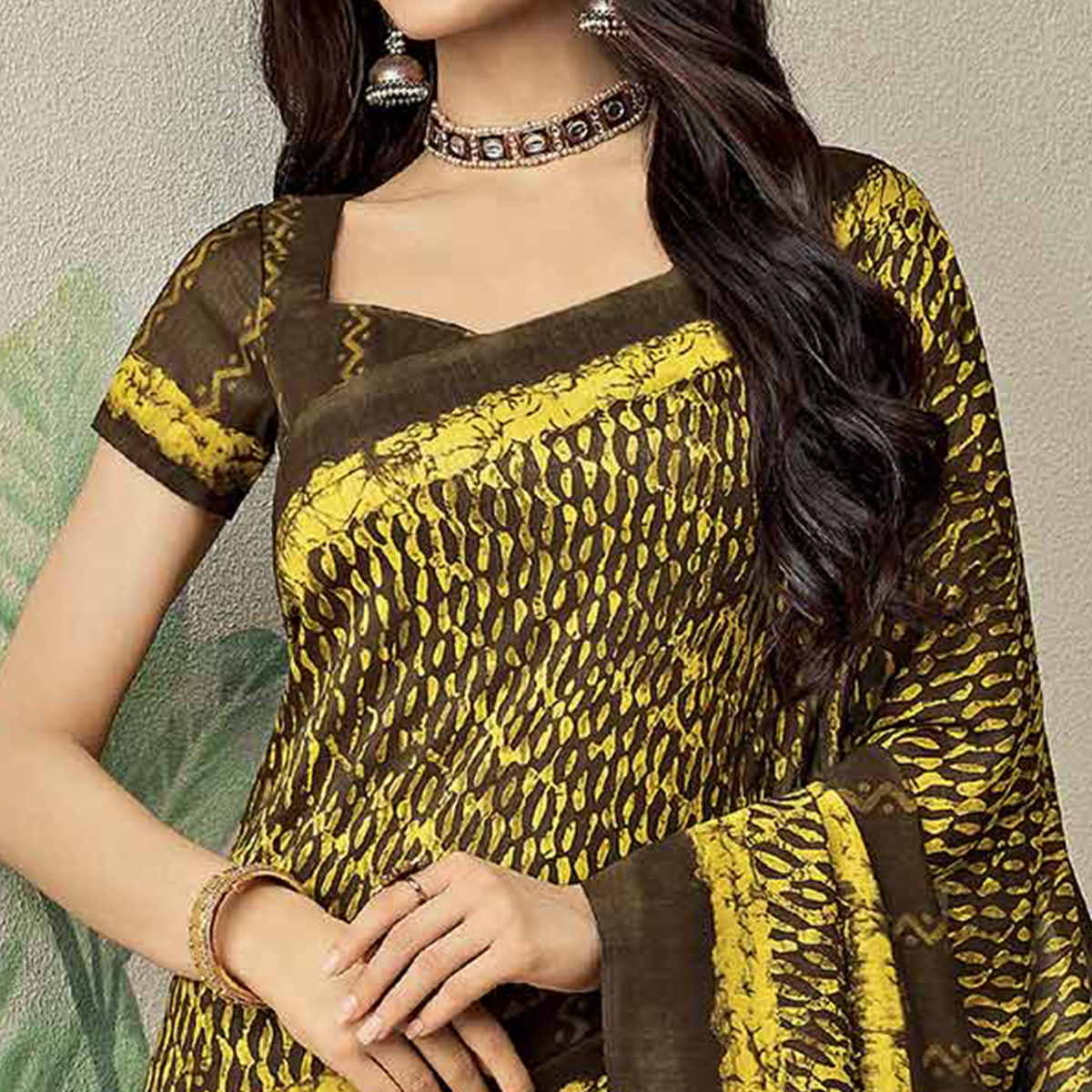 Ideal Brown-Yellow Colored Casual Printed Jute Art Silk Saree